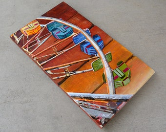 """Save Ferris - Ferris Wheel -Original Mixed Media Collage 10""""x17 and 1/2"""" on Reclaimed Wood"""