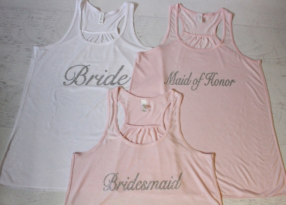 Custom Bridal Party Tank Tops Custom Names Flowy Racerback Tank Women's Pictured in White printed in Gold Glitter