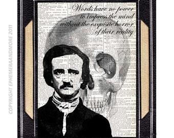 Edgar Allan Poe art print Quote horror literature surreal skull writer black white illustration wall decor vintage dictionary book page 8x10