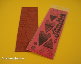Heart Pieces / Invoke Arts Collage Rubber Stamps / Unmounted Stamp Set