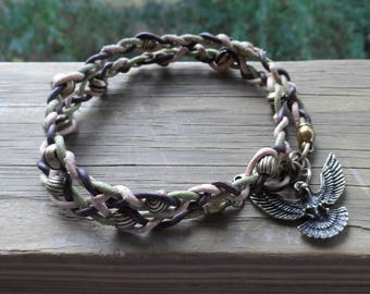 Men's Larger Sized Double Wrapped Leather Bracelet in camo colors with Brass Beads and Flyng Eagle Charm