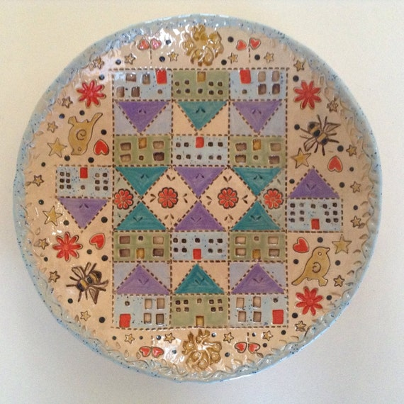 Handmade Ceramic Patchwork Patterned Bowl, quilting, applique, stitching, textiles