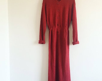 70s Textured Berry Dress