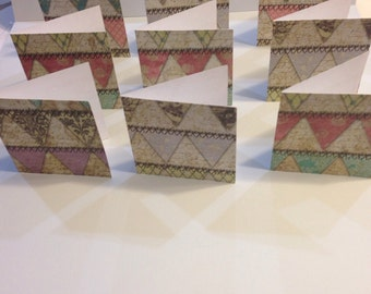 """2.5"""" Square Blank Cards Tags - set of 9 Shabby Chic"""