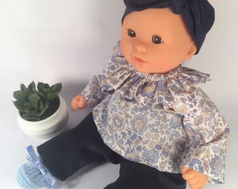 All doll clothes, doll Corolla 30cm - doll clothes - liberty - trousers - HeadBand frill collar blouse