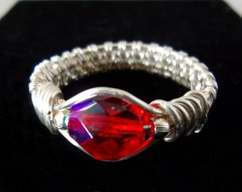 Wire Wrapped Ring Red and Silver