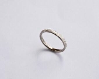 Anello in oro bianco Wedding Band - anello di corteccia di albero - sottili - 18 carati - martellata - semplice - gli uomini - la sua e il suo anello di nozze