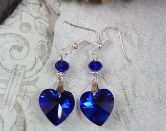 Gothic Blue Crystal Heart Beaded Drop Earrings Victorian/Retro/Vintage UK