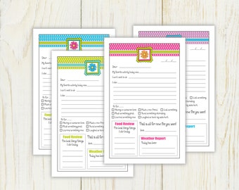 Summer Camp Stationery - Digital - Instant download - fill in note for camp