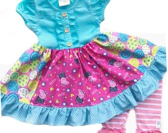 Peppa Pig birthday party dress Spring Summer girls Peppa Pig clothing Peppa Live dress Momi boutique custom dress