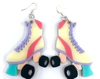Roller Skate Charm Earrings, Large Acrylic Earrings, Skater Earrings, Roller Derby Dangle Earrings, Pastel Skates, Kawaii Harajuku