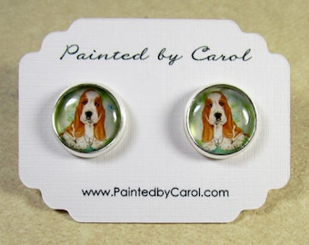 Basset Hound Earrings, Basset Hound Gifts, Basset Hound Studs, Basset Hound Jewelry, Basset Earrings, Basset Jewelry, Basset Gifts