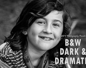 BW Dark and Dramatic Lightroom Presets, portrait, landscape, kids, family, film, black, white, vintage, lightroom, preset, presets