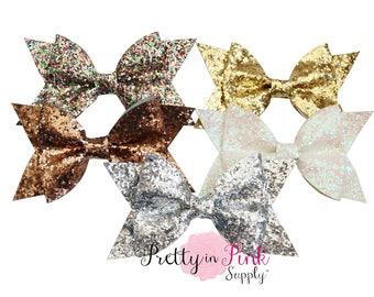 "Large Glamour Glitter Bows- Hair Bow 4.5"" Glitter Bows- DIY Hair Bows- .Glitter Bow- Fabric Bow"