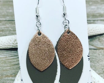 Ivory, latte and rose gold layered leather earrings. Nickel free ear wires.