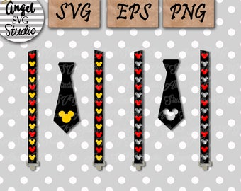 Mickey Suspenders with Tie SVG EPS PNG