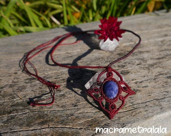 Sodalite & Garnets Macrame Necklace. Sodalite Gift. Virgo Zodiac Jewelry. Wife Blue Necklace. Astrology Necklace by Macrame Tralala