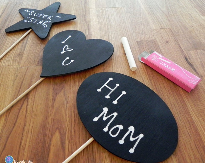 Chalkboard WOOD Photo Props (3 Pieces) - party wedding birthday engagement chalk stick heart star circle speech bubble
