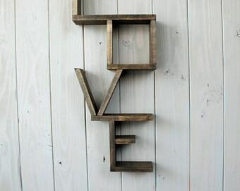 Rustic love shelf - handmade shelf - wood shelf - Wood shelving - home decor - rustic decor - rustic shelf -nursery decor - country decor