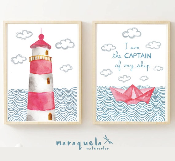 LIGHTHOUSE and PAPER BOAT, Set 2 illustrations for kids and baby, newborns. Print Nursery Nautical Red hues, art, Beach house, boats, sea