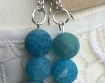 Agate Drop Earrings,Blue Agate Earrings, Sterling Silver Earrings, Dangle Agate Earrings, Handmade Earrings, Edinburgh Jewellery Designer