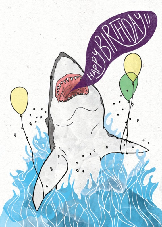 Great white shark birthday card w customizable message option bookmarktalkfo Gallery