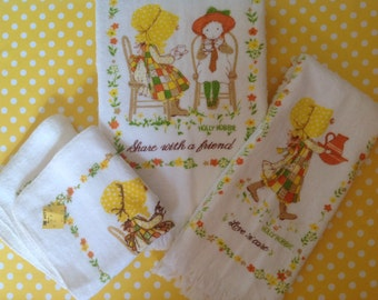 NOS New unused Holly Hobbie bath towel set, cotton, retro 1960s, 1970s, yellow gold green