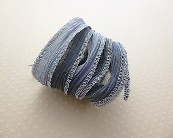 Silk Ribbon yarn hand dyed color metallic No. 950