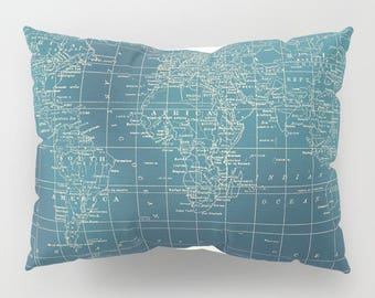 World Map Pillow Case in Teal Grunge - vintage look,  map decor  -  unique travel, wander, classic,  bedroom, bedding,  manly, masculine