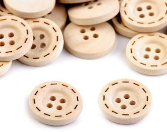 10 Wooden Button size 28'