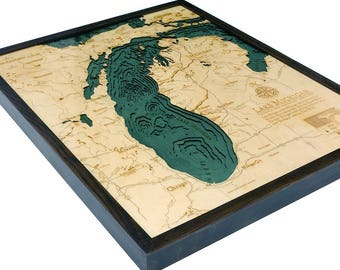 Lake Michigan Art | Lake Michigan Map | Lake Michigan Wood Chart | Lake Michigan | Water Depths | Topograhic Map | Great Lakes Map