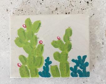Succulent painting, kid's bedroom decor, mini painting