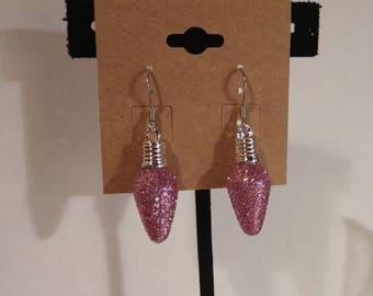 Pink Christmas earrings