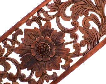Balinese Wood Carving - MDF Lotus Flower Panel - Rectangular