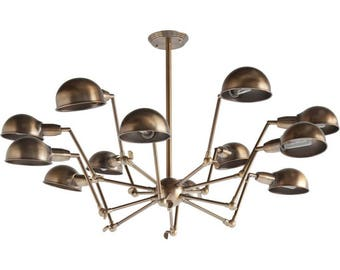 Space Age Sputnik 12 arm Chandelier Brass finished light fixture Danish Modern