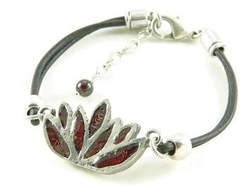 Orgone Energy Bracelet - Lotus Flower Leather Friendship Bracelet - Choose Your Stone/Color - Natural Gemstones - Artisan Jewelry