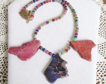Variscite Jasper Pendant Necklace - Purple, Red and Orange Jasper Necklace, Statement Necklace, Somewhere Over the Rainbow Diva Gal, OOAK
