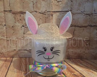 Easter hostess gift etsy easter bunny lighted mason jar mason jar easter bunny easter bonnet glitter negle Gallery
