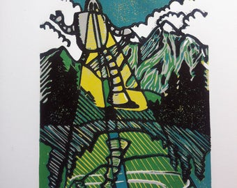 We Can Discover the Wonders of Nature- Linocut