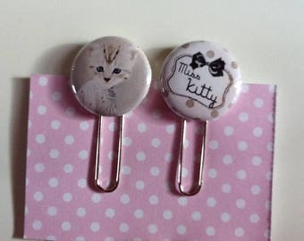 Set of two paper clips bookmark, cat