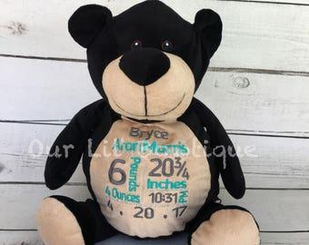 Personalized Stuffed Animal - Subway Art Baby Gift - Personalized Animal - Birth Announcement - New Baby -Personalized Baby Gift- Black Bear
