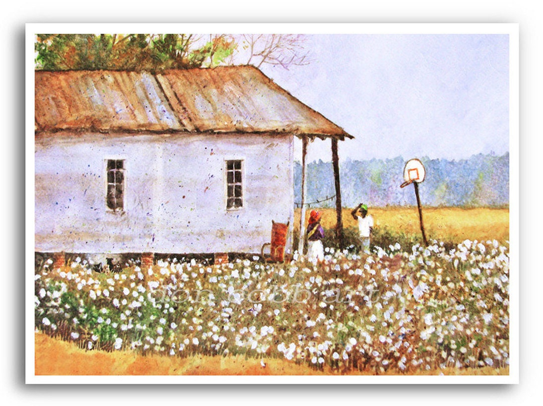 13x19 Louisiana Cotton Field Folk Painting Art Print