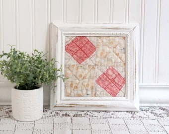 Framed Antique Cutter Quilt Piece, Framed Vintage Quilt, Pink and White Framed Quilt, Cottage Nursery Decor, Chippy Frame