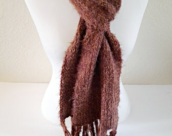 Brown Knitted Scarf / Chunky Scarf / Crochet Scarf / Valentine's Day Gift / Gift for Her / Gift Ideas.