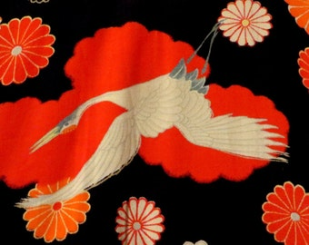 SALE Outstanding 40s Red and Black Cranes Kimono