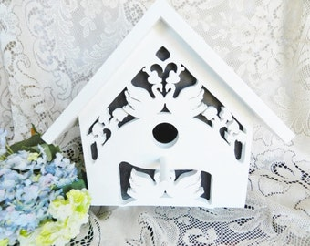 Fretwork Birdhouse, Scroll Saw Birdhouse, Swan Birdhouse, One of a Kind Birdhouse, Handmade Birdhouse, Wooden Birdhouse