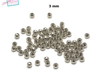 100 small round beads spacer 3mm, silver