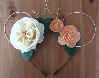 Wire mouse ears, floral ears, wire ear headband, flower headband, tiara crown, minnie flower crown, Dapper Day, flower flower crown