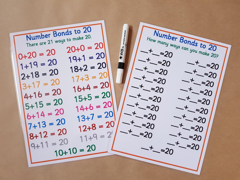 Anzahl Anleihen bis 20 rechnen Poster und Arbeitsblatt EYFS