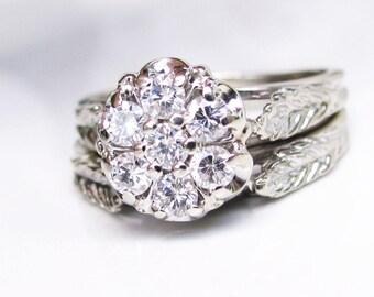 Vintage Daisy Diamond Engagement Ring Set 0.49ctw Diamond Cluster Ring 14K White Gold Filigree Diamond Wedding Ring Vintage Bridal Set